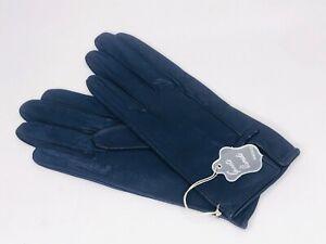 Vintage Guante Varade Ladies Navy Blue 8.5 Inch Leather Gloves Italy New Unworn