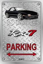 Parking Sign Metal Mazda RX7 Series 4 - Black with Grey Rims Checkerplate Look