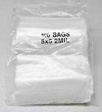 5x5 ZIPLOCK BAGS 2MIL CLEAR PLASTIC POLY ZIP LOCK BAGGIES 5