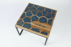 Wooden coffee table with resin unique