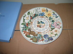 BOXED WEDGEWOOD  COLLECTIBLE CALENDER 2003 SEASONS SPRING SUMMER ETC CHINA PLATE