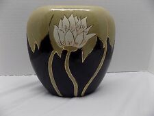 Beautiful, Hand-Painted, Modern Art Pottery Vase w Lotus Flowers! Signed/Dated!