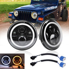 Pair 7'' Round LED Headlights For Jeep Wrangler Unlimited Sport JK JL TJ LJ CJ