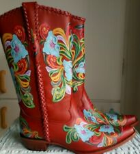 NEW LUXUS CUSTOM MADE BROWN WITH FLOWERS COWBOYSTIEFEL WESTERN BOOTS EUR 41-42
