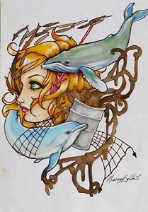 ORIGINAL ARTWORK FANTASY WHALE DOLPHIN SEA POLLUTION GIRL by MORTIMER SPARROW