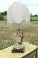 Vintage Capodimonte Table Desk Lamp Girl Pigeons Gorgeous
