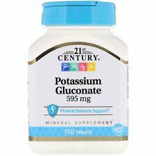Potassium Gluconate Comprimés 595mg 110tabs Vegan non-Ogm Électrolyte Équilibre