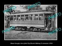 OLD LARGE HISTORIC PHOTO OF ROME GEORGIA, THE ELECTRIC RAILWAY STREET CAR c1910