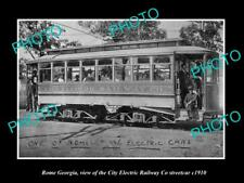 OLD LARGE HISTORIC PHOTO OF ROME GEORGIA, THE ELECTRIC RAILWAY STREET CAR c1910