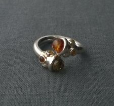 925 STERLING SILVER 3 COLOUR AMBER CROSS OVER OPEN FRONT RING  P