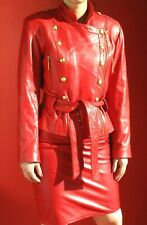 VAKKO  RED LEATHER   MILITARY SUIT - DB JACKET and  SKIRT-  size  8