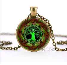 Celtic Tree of life Cabochon Glass Bronze Pendant Necklace jewelry