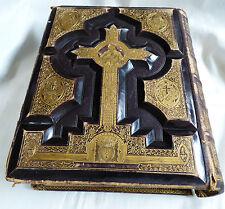 ANTIQUE VTG HOLY CATHOLIC BIBLE DOUAY & RHEIMS 1800'S .22 KT GOLD GILT LEATHER
