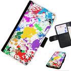 NEON 09 Pintura Splat Impreso Cartera De Cuero / Funda libro para teléfono móvil