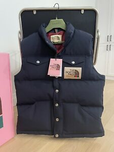 The North Face x Gucci Down Vest Navy (Size Medium) - New With Tags