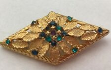 BROOCH Pin RHINESTONE Victorian Gold Tone Christmas Green Purple Rhinestones Vt*