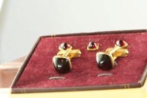 VTG 1950'S SWANK RED LUCITE TUXEDO STUD CUFFLINKS SET IN ORIG 1/2 BOX