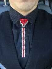 Black Ballroom Zip Up tie made with swarovski Red And Crystal Stones