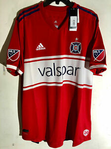 ADIDAS AUTHENTIC MLS JERSEY CHICAGO FIRE TEAM RED MEN'S SIZE L