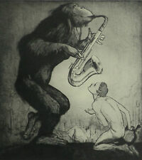 Saxaphone Ape Orpheus Modern Version Will Dyson Dry Point 1930 Page Print 6830
