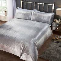 Silver Grey Duvet Cover Crushed Velvet Printed Sequins Effect Quilt Cover Set