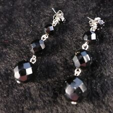 Traditional Jet Style Black Beaded & Crystal Drop Stud Earrings + Free Gift Bag