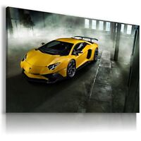LAMBORGHINI AVENTADOR YELLOW Sport Cars Large Wall Canvas  ART AU264 MATAGA .