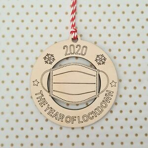 Lockdown 2020 Bauble ~ Christmas Tree Decoration ~ Wooden Gift ~ Mask