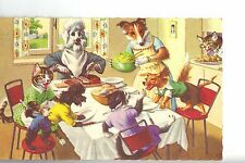 """Vintage Post Card - ALFRED MAINZER CATS & Dogs - #4924 """"Salad Course"""" -FreeShip"""