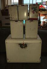 Vintage 30s Kitchen Set 5 Canisters Tin Kreamer Bakelite Knob & Bread Box