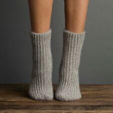 Lemon Ladies Chenille Fuzz Rib Boyfriend Boot Socks Clay Taupe Grey - NEW
