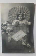 AK  Neujahrskarte Kind Mädchen mit Plüschtieren gel. 1913
