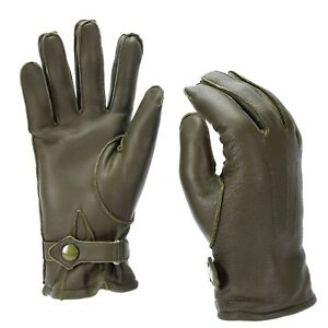 Genuine German Police leather OD gloves patrol Olive lined wool 100% winter NEW