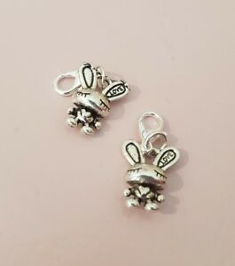 1 x Rabbit Bunny Farm Animals Easter Love Sweet Silver Plated Clip On Charm