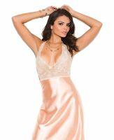 Long Nightgown Satin Medium M Women Peach Lace Halter Low Back Sexy Lingerie