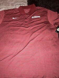 Nike Dri Fit Performance Stripped Alabama Crimson Tide Golf Shirt XL $65