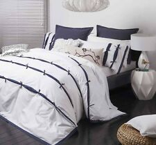 New LOGAN and MASON ANJI NAVY White Printed Bows DOUBLE Quilt/Doona Cover Set