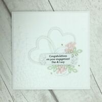 Handmade Personalised Engagement Card - White Hearts