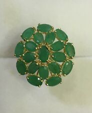 14k Solid Yellow Gold Ring With Natural Emerald Oval Cut 5.55CT 3.95GM