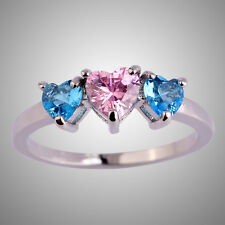 Brilliant Love's Heart Blue & Pink Topaz Gemstone Silver Ring Size L N P R T V