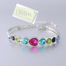 Love Gift Heart Swarovski Crystals 18k White Gold Plated Bangle Bracelet Friend