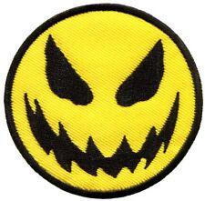 Evil smiley face smile boho 70's retro fun applique iron-on patch new G-28