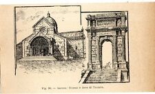Stampa antica ANCONA veduta Duomo e Arco di Traiano 1910 Old print
