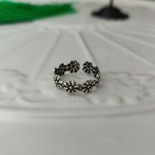 Daisy Flower Toe Ring Solid 925 Sterling Silver