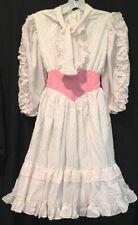 Vtg MiniWorld Utah White Pink Girls Dress Sz 12 Ruffles Dotted Swiss Polka Dot