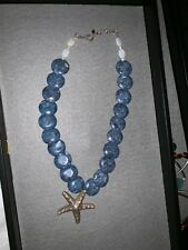 Blue Necklace with Silver Starfish