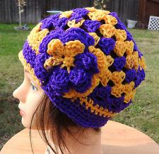 LA LAKERS  Beanie style hand crochet Woman hat Purple Gold Yellow Chemo NEW