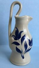 WILLIAMSBURG Pottery Cobalt Blue Leaf Salt-Glazed STONEWARE PITCHER EWER