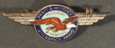 Vintage Pratt Whitney Aircraft Engine Pin WW2 6 Months Attendance Award Sterling