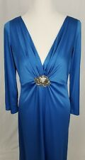 Vintage Claralura Blue Hollywood Glam Stretch Long Sleeve Evening Gown 14